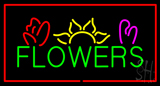 Green Flowers Logo with Red Border LED Neon Sign