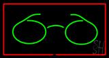 Glasses Logo Rectangle Red LED Neon Sign
