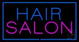 Hair Salon Rectangle Blue LED Neon Sign