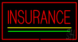 Insurance Yellow Green Lines Red Border LED Neon Sign