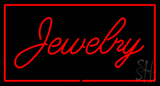 Jewelry Cursive Rectangle Red LED Neon Sign