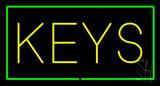 Keys Rectangle Green LED Neon Sign