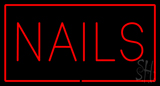 Red Nails with Red Border LED Neon Sign