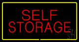 Red Self Storage Yellow Rectangle Neon Sign