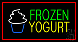 Frozen Yogurt Rectangle Red LED Neon Sign