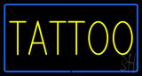 Yellow Tattoo Blue Border LED Neon Sign