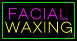 Facial Waxing Rectangle Green LED Neon Sign