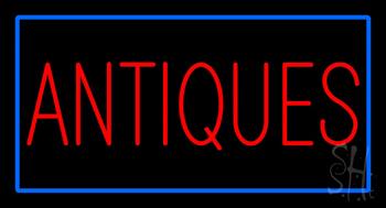 Antiques Rectangle Blue LED Neon Sign