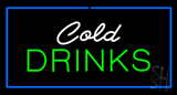 Cold Drinks Rectangle Blue LED Neon Sign