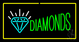 Diamonds Logo Yellow Rectangle LED Neon Sign