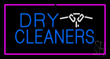 Dry Cleaners Logo Rectangle Pink LED Neon Sign