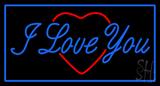 I Love You Logo Blue Border LED Neon Sign