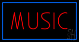 Red Music Blue Rectangle LED Neon Sign
