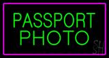 Passport Photo Purple Rectangle LED Neon Sign