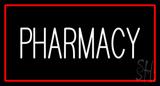 White Pharmacy Red Border LED Neon Sign
