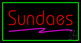 Red Sundaes with Green Border LED Neon Sign