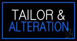 White Tailor and Alteration with Blue Border LED Neon Sign