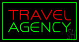 Travel Agency Green Rectangle LED Neon Sign