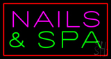 Pink Nails and Spa with Red Border LED Neon Sign