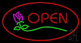 Rose Red Oval Open LED Neon Sign