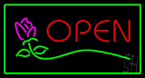 Rose Green Rectangle Open LED Neon Sign