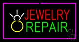 Jewelry Repair Rectangle Purple LED Neon Sign