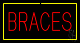 Red Braces Yellow Border LED Neon Sign