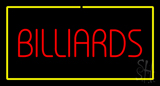 Billiards Block Yellow Rectangle Neon Sign