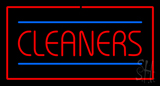 Red Cleaners Blue Lines Red Border LED Neon Sign