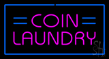 Coin Laundry with Blue Border LED Neon Sign