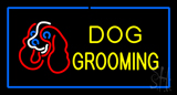 Dog Grooming Blue Rectangle LED Neon Sign