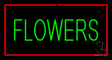Green Flowers Red Border LED Neon Sign