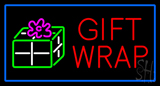 Red Gift Wrap Blue Border LED Neon Sign