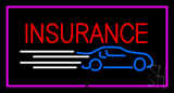 Insurance Car Logo Pink Border LED Neon Sign