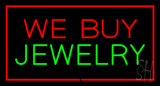 We Buy Jewelry Block Rectangle Red Neon Sign