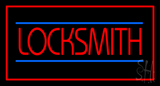 Locksmith Rectangle Red LED Neon Sign