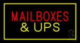 Mail Boxes and UPS Rectangle Yellow LED Neon Sign