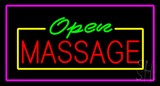 Open Massage Rectangle Pink LED Neon Sign