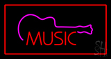 Music Rectangle Red LED Neon Sign