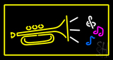 Trumpet Logo Rectangle Yellow LED Neon Sign
