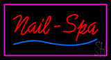 Red Nails-Spa with Pink Border LED Neon Sign
