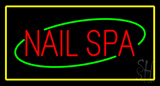 Red Nails Spa with Yellow Border LED Neon Sign