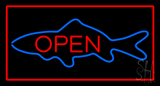 Fish Open Red Rectangle LED Neon Sign