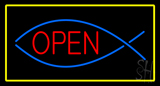 Fish Red Open Yellow Rectangle LED Neon Sign