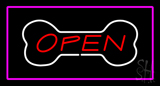 Dog Bone Open Purple Rectangle LED Neon Sign