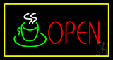 Open Rectangle Coffee Logo Yellow LED Neon Sign