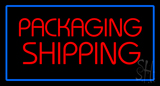 Packaging Shipping Blue Rectangle Neon Sign