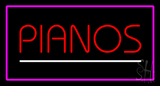 Pianos White Line Purple Rectangle LED Neon Sign