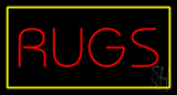 Rugs Rectangle Yellow LED Neon Sign