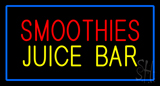 Smoothies Juice Bar with Blue Border LED Neon Sign